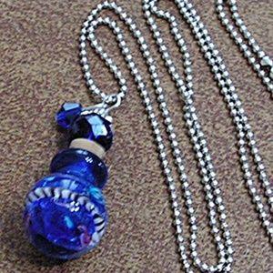 Blue Glass Perfume Bottle Necklace